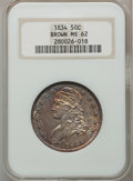 Bust Half Dollars, 1834 50C Small Date, Small Letters MS62 NGC. O-109, R.1....