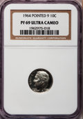 Proof Roosevelt Dimes, 1964 10C Pointed 9 PR69 Ultra Cameo NGC. NGC Census: (175/0). PCGSPopulation (273/2). Numismedia Wsl. Price for problem f...