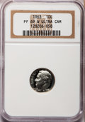Proof Roosevelt Dimes, 1963 10C PR69 W Ultra Cameo NGC. NGC Census: (2/0). PCGS Population(192/0). Numismedia Wsl. Price for problem free NGC/PC...
