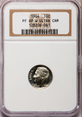 Proof Roosevelt Dimes, 1964 10C PR69 W Ultra Cameo NGC. NGC Census: (175/0). PCGSPopulation (273/2). Numismedia Wsl. Price for problem free NGC/...