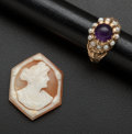 Estate Jewelry:Other , Amethyst & Pearl Gold Ring And Unmounted Shell Cameo. ...
