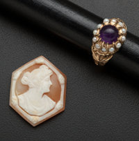 Amethyst & Pearl Gold Ring And Unmounted Shell Cameo