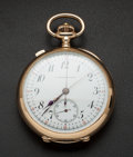 Timepieces:Pocket (pre 1900) , E. Mathey Tissot 14k Gold Split Second Chronograph. ...