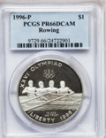 Modern Issues: , 1996-P $1 Olympic/Rowing Silver Dollar PR66 Deep Cameo PCGS. PCGSPopulation (18/1297). NGC Census: (1/1144). Numismedia W...