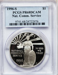Modern Issues: , 1996-S $1 Community Service Silver Dollar PR68 Deep Cameo PCGS.PCGS Population (142/1862). NGC Census: (24/1676). Mintage:...