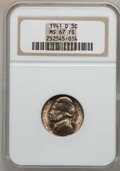 Jefferson Nickels, 1941-D 5C MS67 Full Steps NGC. NGC Census: (66/0). (#74011)...