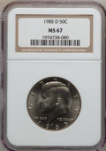Kennedy Half Dollars: , 1985-D 50C MS67 NGC. NGC Census: (73/3). PCGS Population (82/0).Mintage: 19,814,034. Numismedia Wsl. Price for problem fre...
