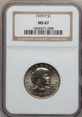 Susan B. Anthony Dollars: , 1979-P SBA$1 MS67 NGC. NGC Census: (146/4). PCGS Population (83/1).Mintage: 360,222,016. Numi...