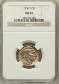 Buffalo Nickels: , 1936-D 5C MS65 NGC. NGC Census: (937/669). PCGS Population(1754/766). Mintage: 24,814,000. Numismedia Wsl. Price for probl...