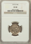 Buffalo Nickels: , 1915-D 5C XF40 NGC. NGC Census: (9/809). PCGS Population (29/1117).Mintage: 7,569,000. Numismedia Wsl. Price for problem f...