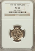 Buffalo Nickels: , 1938-D/D 5C Buffalo MS66 NGC. NGC Census: (14/6). PCGS Population(1363/62). Mintage: 7,020,000. (#93984)...
