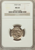 Buffalo Nickels: , 1937-S 5C MS65 NGC. NGC Census: (1672/974). PCGS Population(3698/1605). Mintage: 5,635,000. Numismedia Wsl. Price for prob...