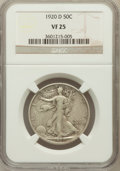 Walking Liberty Half Dollars: , 1920-D 50C VF25 NGC. NGC Census: (13/229). PCGS Population(30/364). Mintage: 1,551,000. Numismedia Wsl. Price for problem ...