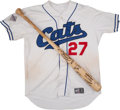 Baseball Collectibles:Bats, 2005 Fort Worth Cats Game Worn Jersey and Signed Bat. ...