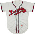 Baseball Collectibles:Uniforms, 1993 Warren Spahn Signed Atlanta Braves Jersey. ...