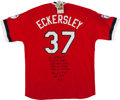 Baseball Collectibles:Uniforms, Dennis Eckersley Signed Cleveland Indians M&N Throwback Jersey. ...