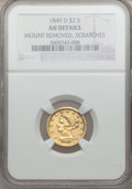 Liberty Quarter Eagles, 1849-D $2 1/2 -- Mount Removed, Scratches -- NGC Details. AU.Variety 11-N (formerly 11-M)....