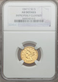 Liberty Quarter Eagles, 1847-C $2 1/2 -- Improperly Cleaned -- NGC Details. AU. Variety1....