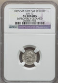 Bust Half Dimes: , 1835 H10C Small Date, Small 5C -- Improperly Cleaned -- NGCDetails. AU. LM-10. PCGS Population (13/100...