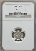 Seated Half Dimes: , 1868-S H10C AU53 NGC. NGC Census: (0/130). PCGS Population (2/93).Mintage: 280,000. Numismedia Wsl. Price for problem free...