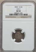 Bust Half Dimes: , 1830 H10C AU50 NGC. LM-3. NGC Census: (9/496). PCGS Population(25/434). Mintage: 1,200,000. Numismedia Wsl. Price for pro...
