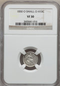 Seated Half Dimes, 1850-O H10C Small O VF30 NGC. NGC Census: (1/56). PCGS Population(3/58). Mintage: 690,000. Numismedia Wsl. Price for probl...