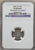 Seated Half Dimes: , 1844-O H10C -- Cleaned, Damaged -- NGC Details. VF. NGC Census:(0/22). PCGS Population (5/55). Mintage: 220,000. Numismedi...