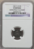 Seated Half Dimes: , 1867-S H10C -- Improperly Cleaned -- NGC Details. VF. NGC Census:(0/54). PCGS Population (0/65). Mintage: 120,000. Numisme...