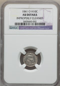 Seated Half Dimes: , 1841-O H10C -- Improperly Cleaned -- NGC Details. AU. NGC Census:(3/31). PCGS Population (7/24). Mintage: 815,000. Numisme...