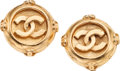 Luxury Accessories:Accessories, Chanel Gold CC Clip-on Earrings. ...