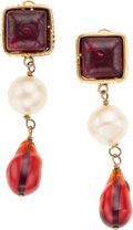 Luxury Accessories:Accessories, Chanel Red Gripoix and Pearl Drop Clip-On Earrings. ...