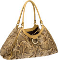 Luxury Accessories:Bags, Gucci Beige Natural Snakeskin and Leather Shoulder Bag. ...