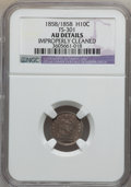 Seated Half Dimes, 1858/1858 H10C -- Improperly Cleaned -- NGC Details. AU. FS-301.NGC Census: (5/613). PCGS Population (24/509). Mintage: 3...