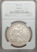 Seated Dollars, 1868 $1 AU55 NGC....