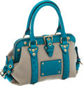 Luxury Accessories:Bags, Louis Vuitton Rare Turquoise Ostrich & Canvas Sac de Nuit Bag....