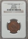 Colonials, 1773 1/2P Virginia Halfpenny, Period MS64 Red and Brown NGC. N.25-M, W-1580, R.2....