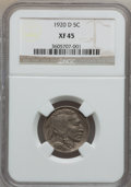 Buffalo Nickels: , 1920-D 5C XF45 NGC. NGC Census: (23/491). PCGS Population (34/553).Mintage: 9,418,000. Numismedia Wsl. Price for problem f...