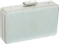 Judith Leiber Sea Green Snakeskin Clutch with Jewel Closure