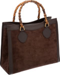 Luxury Accessories:Bags, Gucci Brown Suede and Leather Tote Bag with Bamboo Handles. ...