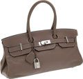 Luxury Accessories:Bags, Hermes 42cm Etoupe Clemence Leather JPG Shoulder Birkin Bag withPalladium Hardware. ...