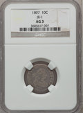 Early Dimes: , 1807 10C AG3 NGC. JR-1. NGC Census: (0/219). PCGS Population(14/321). Mintage: 165,000. Numismedia Wsl. Price for problem...