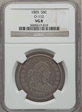 Early Half Dollars: , 1805 50C VG8 NGC. O-112. NGC Census: (5/951). PCGS Population(10/428). Mintage: 211,722. Numismedia Wsl. Price for proble...