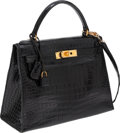 Luxury Accessories:Bags, Hermes 28cm Shiny Black Porosus Crocodile Sellier Kelly Bag withGold Hardware. ...