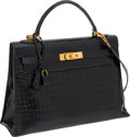 Luxury Accessories:Bags, Hermes 32cm Shiny Black Porosus Crocodile Sellier Kelly Bag withGold Hardware. ...