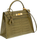 Luxury Accessories:Bags, Hermes 28cm Shiny Vert Chartreuse Alligator Sellier Kelly Bag withGold Hardware . ...