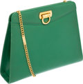 Luxury Accessories:Bags, Ferragamo Kelly Green Smooth Leather Clutch with Gold ChainShoulder Strap. ...