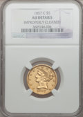 Liberty Half Eagles, 1857-C $5 -- Improperly Cleaned -- NGC Details. AU....