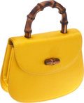 "Luxury Accessories:Bags, Gucci Yellow Satin Top Handle Bag . Very Good Condition.5.5"" Width x 4.5"" Height x 1.25"" Depth. ..."
