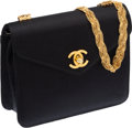 Luxury Accessories:Bags, Chanel Black Satin Evening Bag with Braided Gold Chain Strap. ...