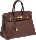 Luxury Accessories:Bags, Hermes 35cm Chocolate Courchevel Leather Birkin Bag with GoldHardware . ...